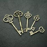 5pcs Steampunk Victorian antique bronze skeleton key pendant charm necklace