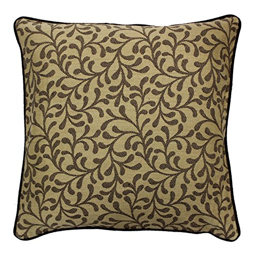AURAVE Contemporary Bail Design woven Cotton Cushion Cover - Beige & Black - Set of two - 16 inch x 16 inch
