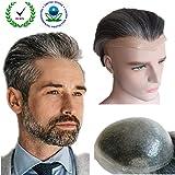 Grey hair Toupee for men Hair pieces for men N.L.W. European virgin human hair replacement system for men, 10