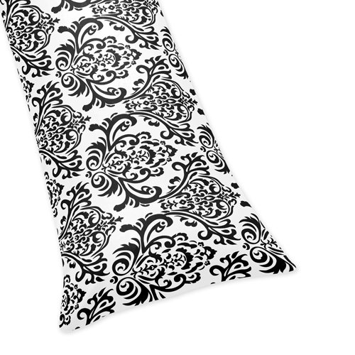 Damask Full Length Double Zippered Body Pillow Cover For Pink, Black And White Isabella Bedding Set front-233371