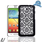 NageBee(TM) - LG Optimus L70 - Diva Lace Damask Design Ultra Slim Translucent Rubber Coating Hard Case + {LCD Screen Protector Shield(Ultra Clear) + Dust Speaker Plug + Touch Screen Stylus} (Lace Case Black)