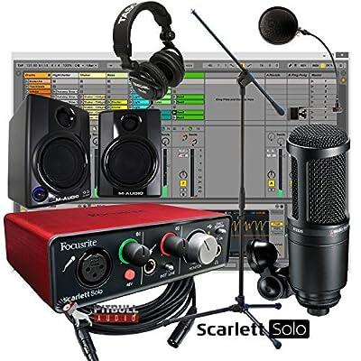 Focusrite Scarlett Solo 2nd Gen USB 2x2 Home Recording Bundle w/ AV30 Monitors AT2020
