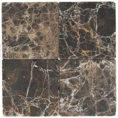 6 in. x 6 in. Dark Emperador Tumbled Square Pattern Marble Mosaic Tiles
