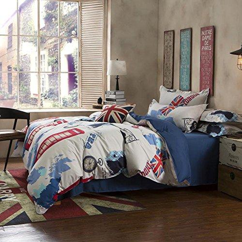 Zhiyuan British Style Theme Duvet Cover Flat Sheet Pillowcase Set, Twin XL (British Duvet compare prices)