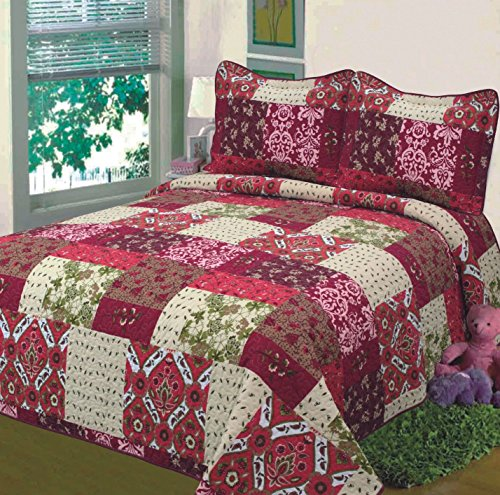 "Fancy Collection 3pc Bedspread Bed Cover Floral Beige Red Green Brown Burgundy #51 King/California King Over Size 118""x 106"""