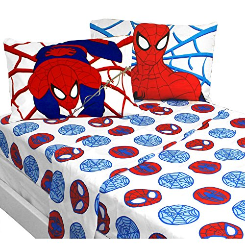4pc Marvel Comics Spiderman Full Bed Sheet Set Bold Spider-Man Bedding Accessories