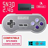 8Bitdo SN30 2.4G Wireless Gamepad Controller with Retro Wireless Receiver Adapter for SNES and SFC Classic Edition (Color: SN30 2.4G)