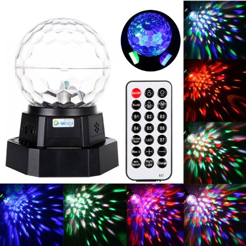Docooler Rechargeable Auto Voice-Activated Mini Led Crystal Magic Ball Light Stage Lighting With Mp3 Player Party Dj 110V-240V