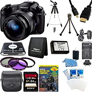 Sony DSCRX10 RX10 RX10/B DSCRX10B RX10B Cybershot 20.2 MP Digital Still Camera with 3-Inch LCD Screen Bundle - Includes camera, 64 GB 94 Mbps SDHC Card, NP-FW50 Camera Battery, Carrying Case, 62mm Filter Kit, Full Sized Tripod, Card Reader and MORE