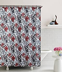 Floral Black Gray Red White Floral Bathroom Shower Curtain