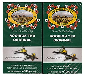 100% Natural South African Rooibos Red Bush Herbal Tea Bags - Anti-oxidant Rich, Caffeine Free, Kilojoule Free, No Colorants, No Additives. Renowned premium quality! (2 Pack, 80 Count, 7oz).