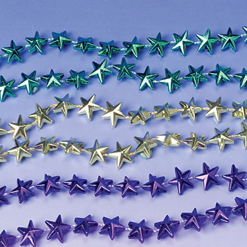 Lot Of 12 Assorted Color Star Design Mardi Gras Beaded Necklaces - 1