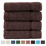 "Turkish Luxury Hotel & Spa 27""x54"" Bath Towel Set of 4 - 100% Genuine Cotton from Turkey - 700gsm Eco-Friendly (Bath Towels, Chocolate)"