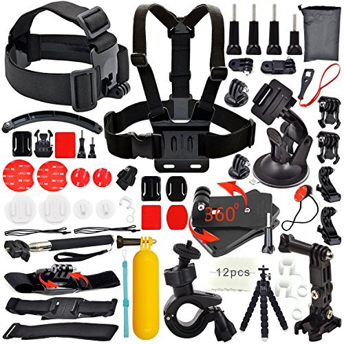 Erligpowht Common Foundation Accessories Kit for sj4000/sj5000 cameras and GoPro Hero 4/3+/3/2/1 Cameras in Parachuting Swimming Rowing Surfing Skiing Climbing Running Bike Riding Camping Diving Outing Any Other Outdoor Sports