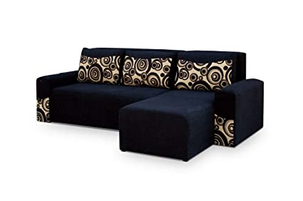 Black Fabric Corner Sofa Bed - Peter - Polskie Meble - Narozniki