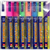 Pack of 8 Illumigraph Wet Wipe Chalk Pens Red, Blue, Yellow, Orange, Green, Purple, Pink, White - 6mm nib MCPMA510