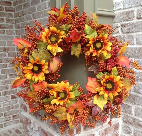 Flora Decor Sunflower Harvest Wreath - 24""