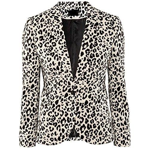 Yep-Close Women'S Soft Leopard Slim Suit Jacket L Leopard