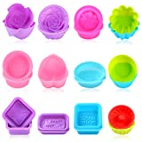 Sntieecr 24 Pieces 12 Shapes Silicone Soap Molds, Soap Making Supplies for DIY Homemade Soap Mold