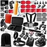 Zookki Gopro Accessories GoPro Accessorie GoPro Accessory Kit pour Gopro Hero 4 3+ 3 2 Gopro Accessory Kit pour Gopro Hero 4 Black Silver Gopro Hero 3+ Black Silver Gopro Hero 3 Black Silver Gopro Hero 2 Black Silver SJ4000 SJ5000 SJ6000 Appareil Sportif Caméscope pour Parachutisme Natation Aviron Surf Ski Escalade Courir Vélo Camping Plongée d'autres Sports de Plein Air...