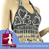 Bellyqueen Belly Dance Halter Top With Coins And Fringe