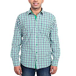 Solzo Slim Fit Green Checks Cotton Shirt for Men(Size: 42)