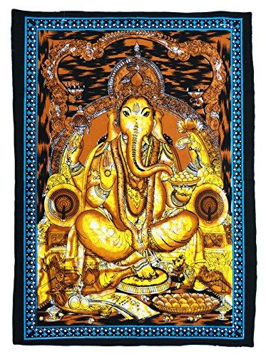 主ガネーシャのポスターサイズの壁インドのタペストリーインテリア42X30インチハンギング