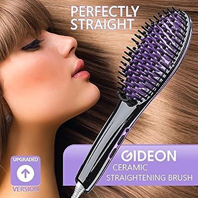 Gideon™ Heated Hair Brush Straightener - Amazing and Innovative Hair Straightener / Achieve Salon Quality Straight Hair in Minutes [UPGRADED VERSION]