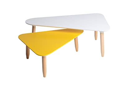 Mesa de centro nido Triangular Blanco/Amarillo