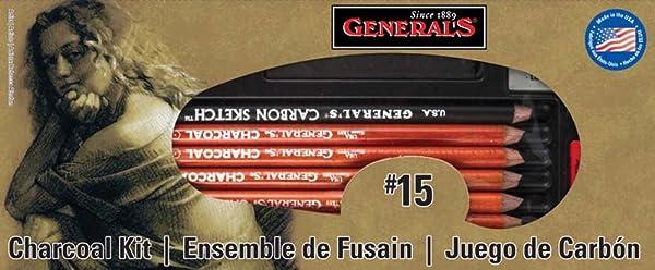 General Pencil Charcoal Kit, 12-Piece (Color: Multicolor, Tamaño: 1 Pack)
