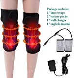 Battery Heated Knee Brace Wrap AWOEZ Rechargeable Lithium Electric Heating Pad Knee Hot Therapy 3 Temperature Control for Joint Pain (Color: 1 Pair)