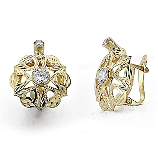 18k gold cubic zirconia earrings rosette 15mm. Leverback [7880]