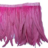 Sowder Rooster Hackle Feather Fringe Trim 10-12inch in Width Pack of 1 Yard(Pink) (Color: Pink)