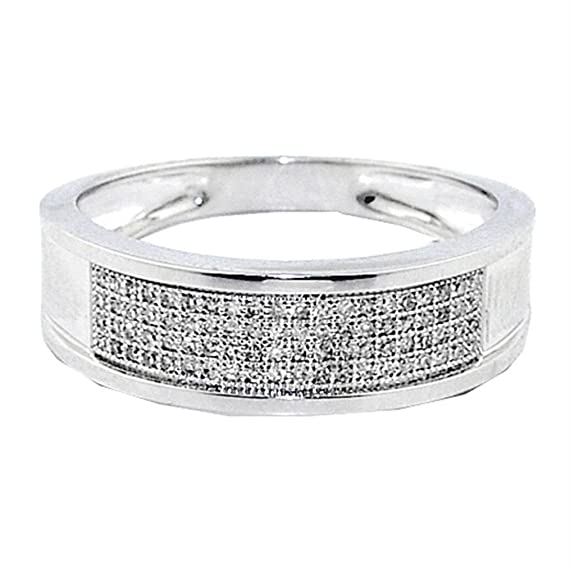 Rings-MidwestJewellery.com Men's 1/4Cttw Diamond Wedding Band Ring 10K White Gold 7Mm Wide(I/J Color 0.28Cttw)