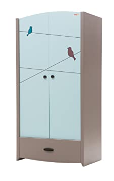 New Joy Blue Birdy 2-Door Children Wardrobe, 195 x 98 x 60 cm