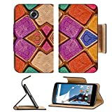 Motorola Google Nexus 6 Flip Pu Leather Wallet Case Colorful multicolored geometric abstract digital photo collage technique pattern IMAGE 36334381 by MSD Customized Premium