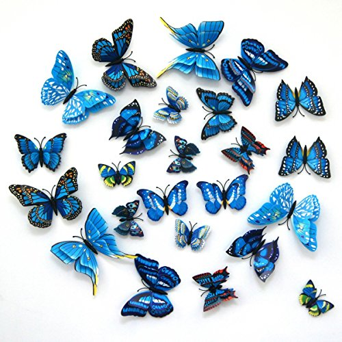 24-Pack Beautiful 3d Butterfly Wall Decals Removable Diy Home Decorations Art Decor Wall Stickers & Murals for Babys Bedroom Tv Background Living Room (blue,Uelfbaby)