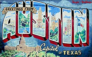 Austin texas wall mural sticker city postcard for Austin postcard mural