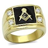 FlameReflection Stainless Steel Gold-Tone Round Shape Cubic Zirconia FreeMason Men Ring Size 11 SPJ
