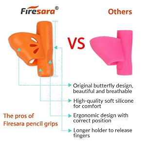 Pencil Grips,Firesara New Professional Pencil Aid Grip Set Teach Writing Tools Butterfly and 3 Fingers Sets Ergonomic Writing Aid for Kids Preschoolers Children Adults Arthritis 2 Types (6pcs) (Color: Butterfly/Elephant Multicolored, Tamaño: 3.14*1.37*3.14)