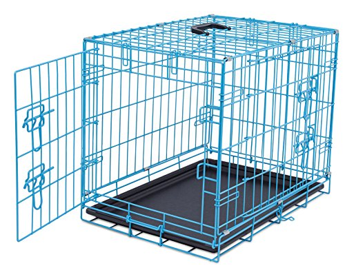 Internet's Best Wire Dog Kennel | Small (24 Inches) | Double Door Metal Steel Crates | Indoor Outdoor Pet Home | Folding and Collapsible Cage | Blue (Double Door Dog Crate 24 compare prices)