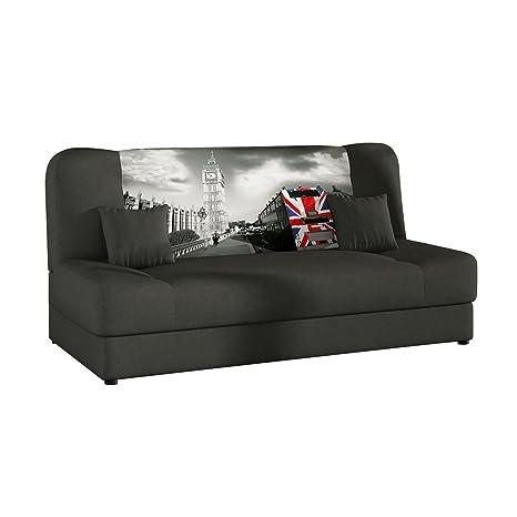 Schlafsofa Jonas Smart, Sofa mit Bettkasten und Schlaffunktion, Bettsofa, Schlafcouch, Materialmix, Couch vom Hersteller, Wohnlandschaft (Alova 48 + Print Z21 + Alova 48)