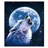 Fipart DIY Diamond Painting Cross Stitch Craft kit. Wall Stickers for Living Room Decoration.Wolf(12X14inch/30X36CM) (Color: Wolf)