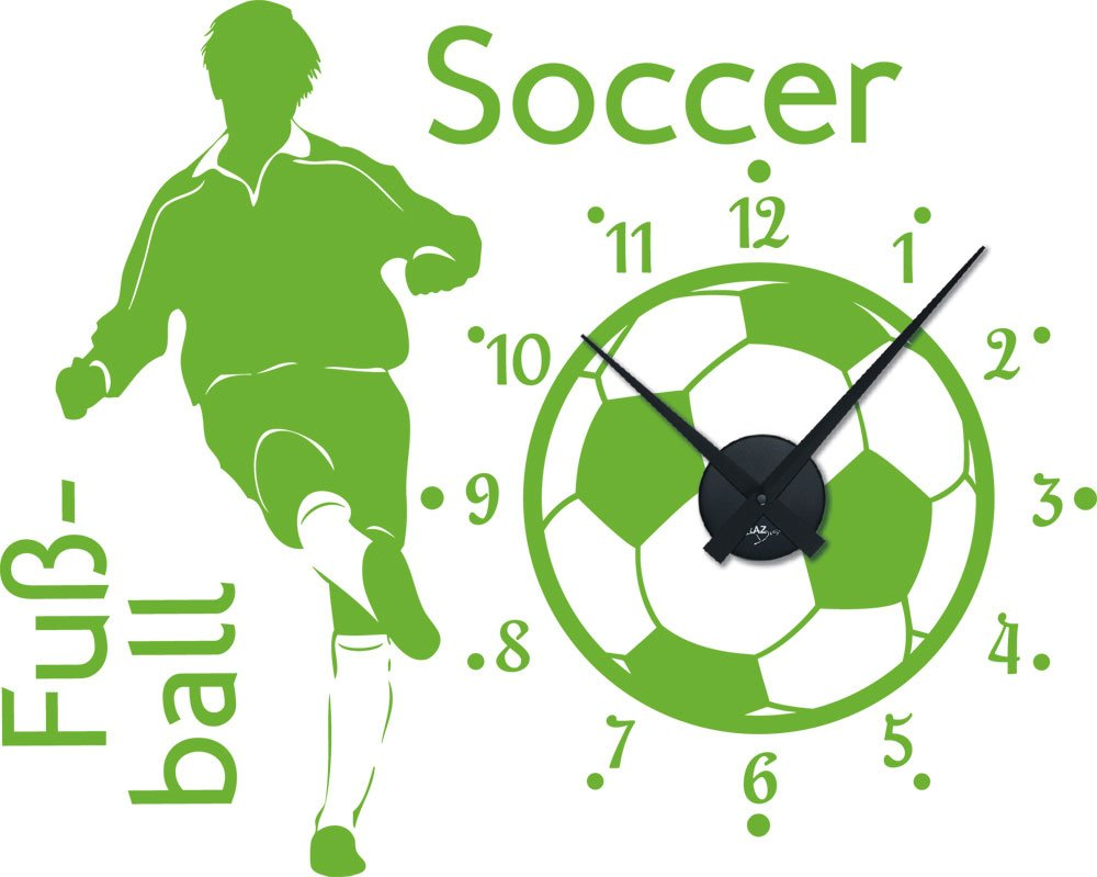 Graz Design 800289_BK_063 Wandtattoo Uhr Wanduhr Sport Fußball Soccer Kinderzimmer (Uhr=Schwarz//Aufkleber=Lindgrün) bestellen