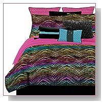 Veratex 457159 Rainbow Zebra Bed-In-A-Bag Micro-Fiber, Multicolored, Twin