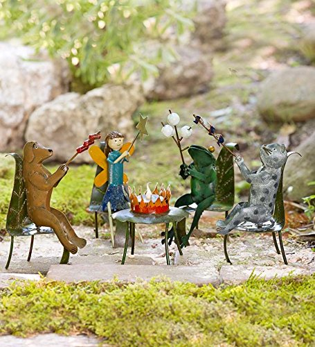Handmade Metal Miniature Fairy Garden Fire Pit Party Set