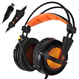 Franterd Sades USB 7.1 Surround A6 Stereo Pro Gaming Headphone w/Mic For PC Notebook (Color: Blue)