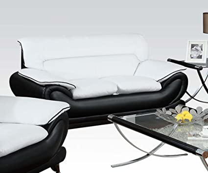 Acme 50456 Contemporary Black And White Leather Love Seat With Chrome Legs