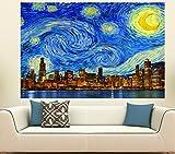 "Starry Night Chicago Skyline Wall Graphic (36"" x 24"")"