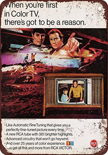 1967-rca-tv-and-star-trek-vintage-look-reproduction-metal-tin-sign-12x18-inches
